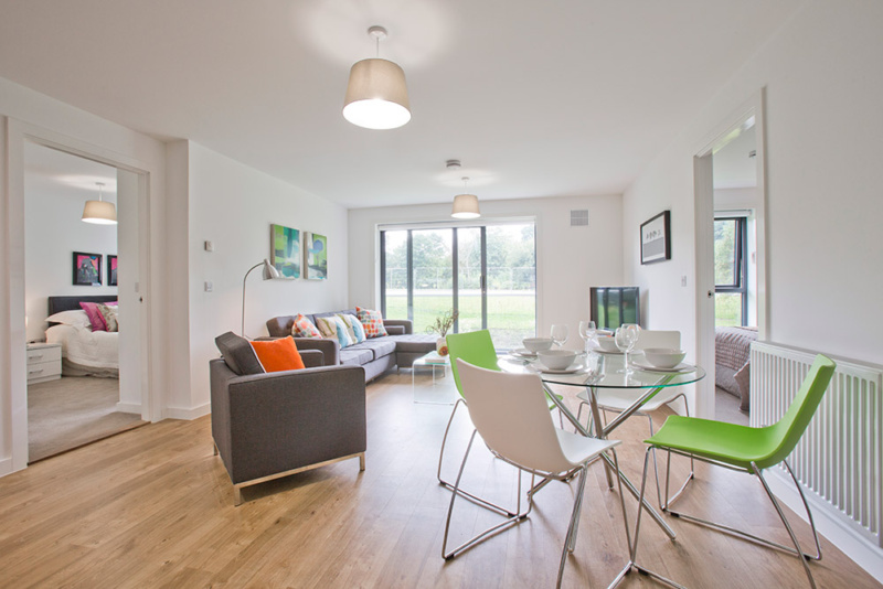 Living room - 2 bedroom concept rental flat in Dyce, Aberdeen - temporary accommodation